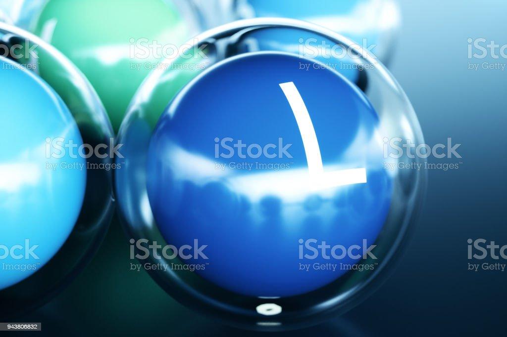 Vitamin I, on black background. Symbol of health and longevity, 3d rendering stock photo