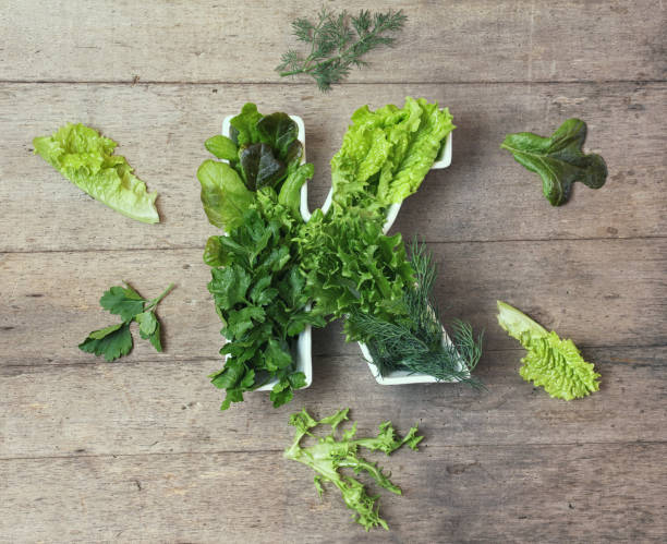 vitamin k in food concept. plate in the shape of the letter k with different fresh leafy green vegetables. some   lettuce and herbs lie near on wooden background. flat lay or top view. - буква k стоковые фото и изображения