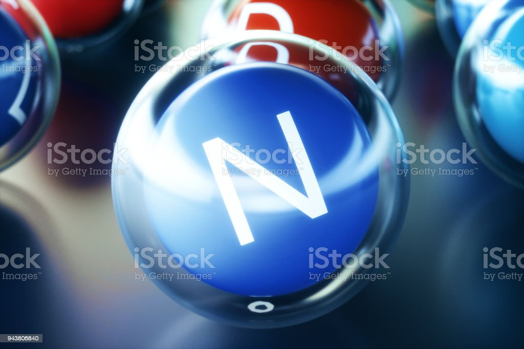 Vitamin N, on black background. Symbol of health and longevity, 3d rendering stock photo