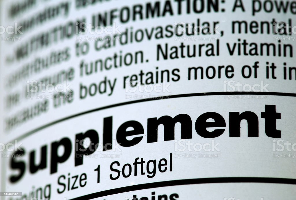 Vitamin or Nutritional Supplement Bottle with Ingredients royalty-free stock photo