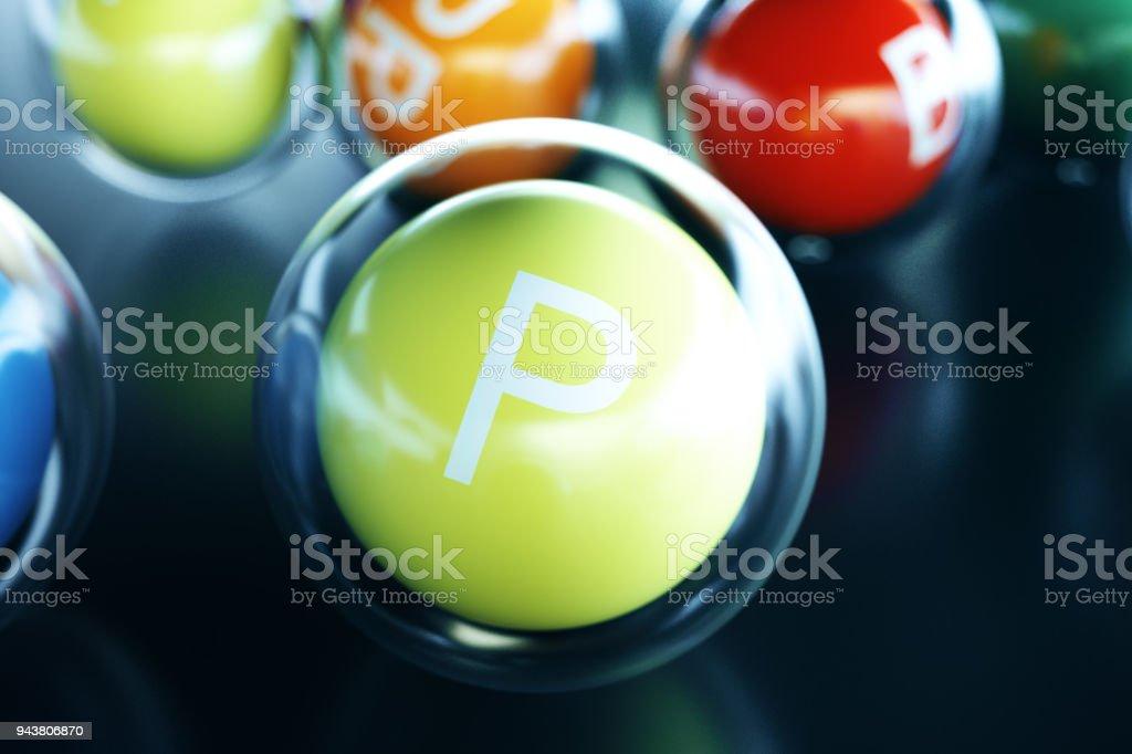Vitamin P, on black background. Symbol of health and longevity, 3d rendering stock photo