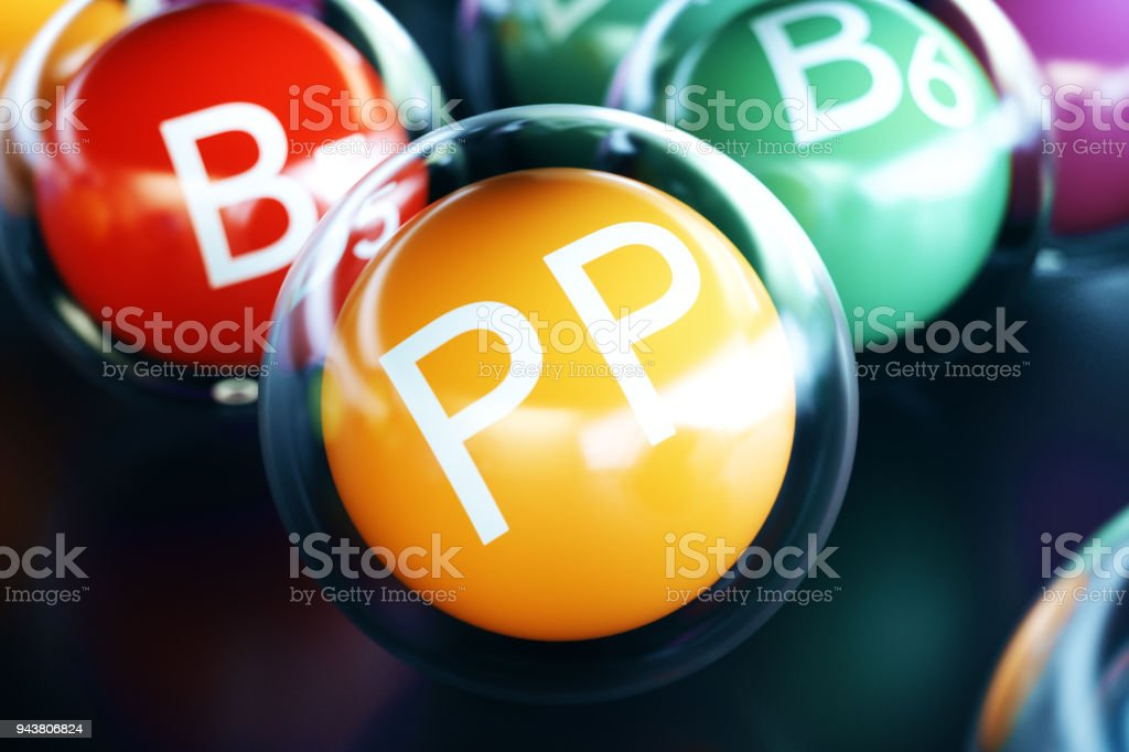 Vitamin PP, on black background. Symbol of health and longevity, 3d rendering stock photo
