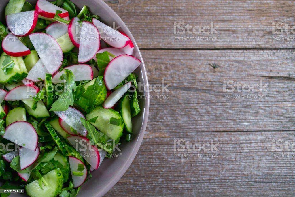 Vitamin spring salad: green onion, radish, cucumber, arugula . photo libre de droits