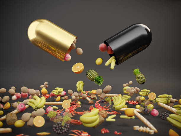 Vitamin Supplements An opening capsule and falling down foods, fruits. ( 3d render ) mineral stock pictures, royalty-free photos & images
