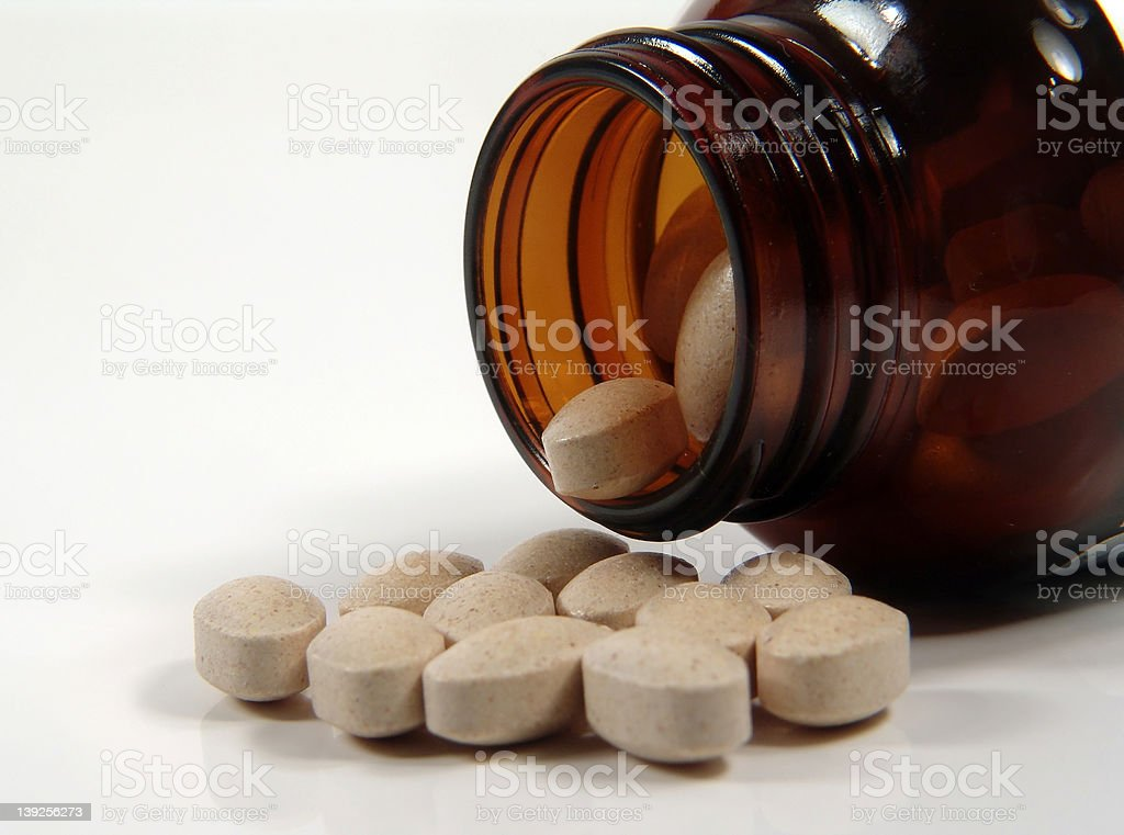 Vitamins and Bottle stock photo
