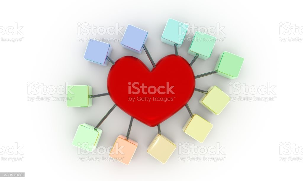 Vitamins and heart concept, 3d render-ar stock photo