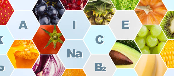 Vitamins and minerals in fruits and vegetables on background Vitamins and minerals in fruits and vegetables on background, panorama mineral stock pictures, royalty-free photos & images