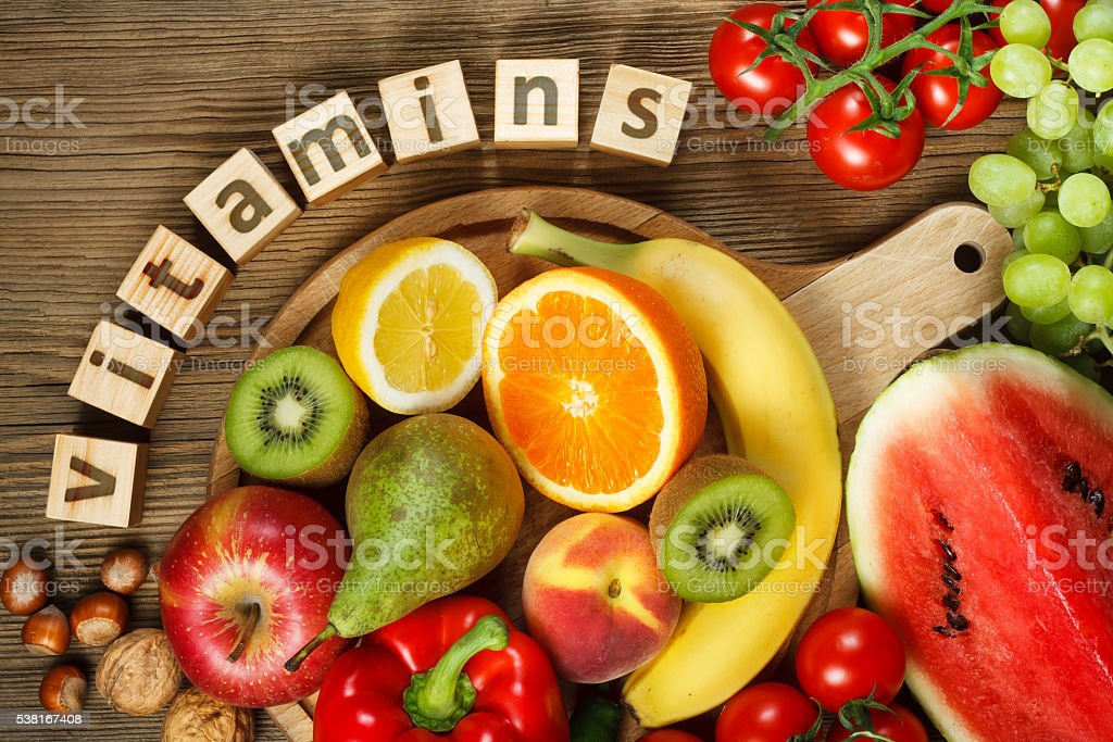 Vitamins in fruits and vegetables stock photo