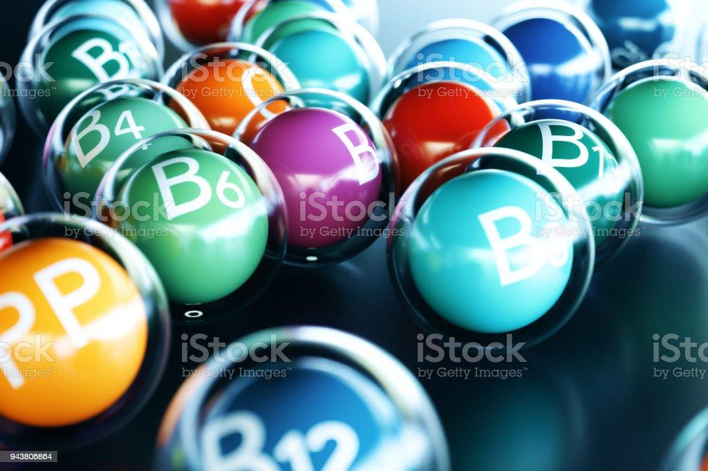Vitamins on black background. Symbol of health and longevity, 3d rendering stock photo