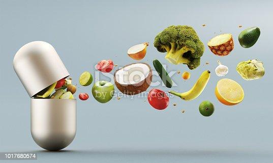 Vitamins pill, organic vegetables and fruit, illustration