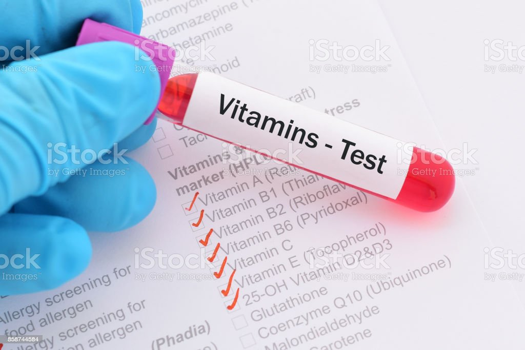 Vitamins test stock photo