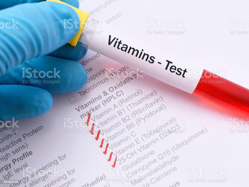 Vitamins test stock photo
