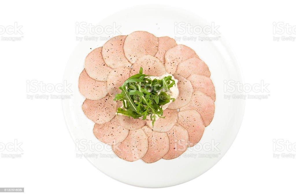Vitello tonnato (cold appetizer) feeding at home stock photo