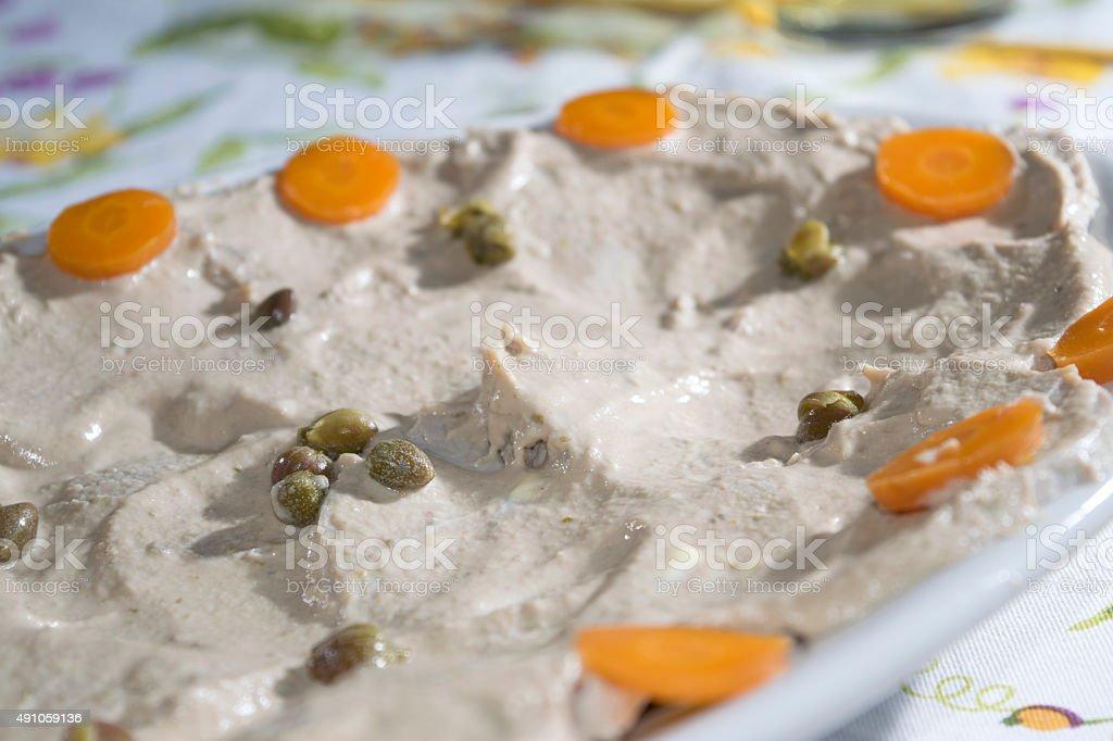 vitello tonnato or veal with tuna sauce stock photo