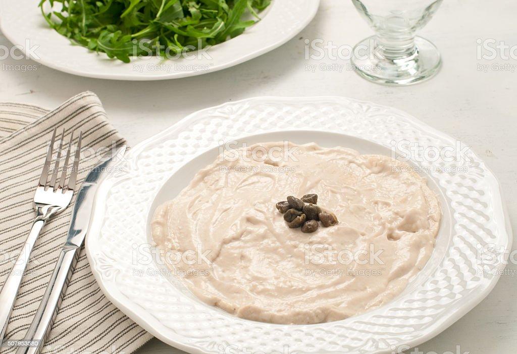 Vitello tonnato, typical Italian dish with veal and tuna stock photo