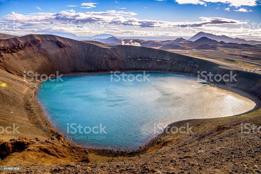 Viti Crater lake in Iceland stock photo