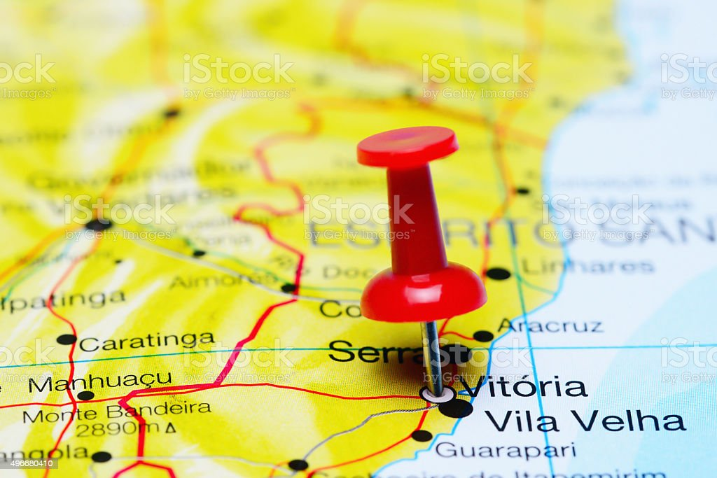 Vitoria pinned on a map of Brazil stock photo