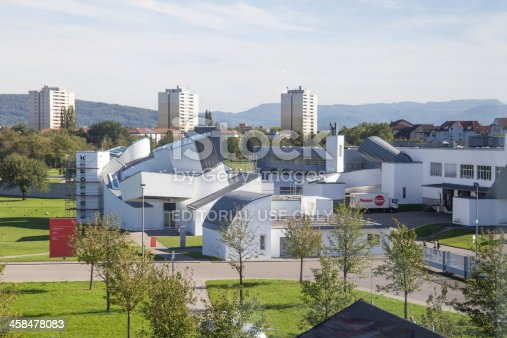 Weil am Rhein, Germany - September 22, 2013: View from abow on Vitra Campus. Vitra Campus is area of modern art buildings and Vitra furniture factory. The picture presents building of The Vitra Design Museum.