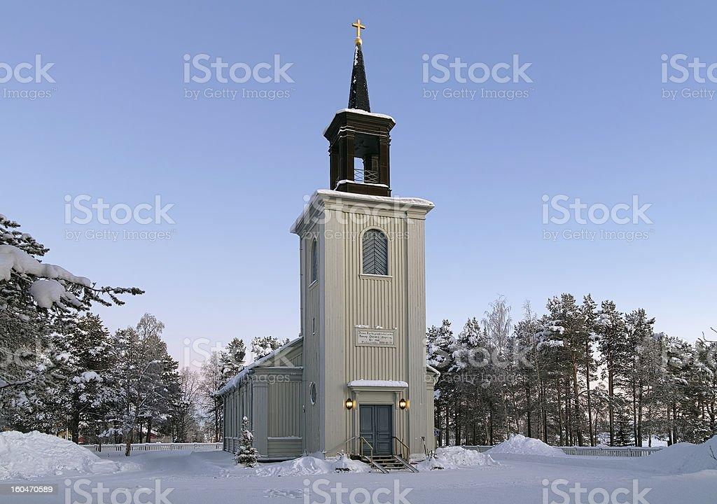 Vittangi Church in winter, Sweden royalty-free stock photo