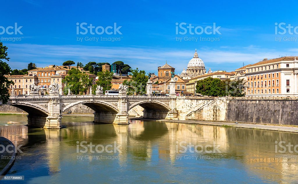 Vittorio Emanuele II bridge in Rome stock photo