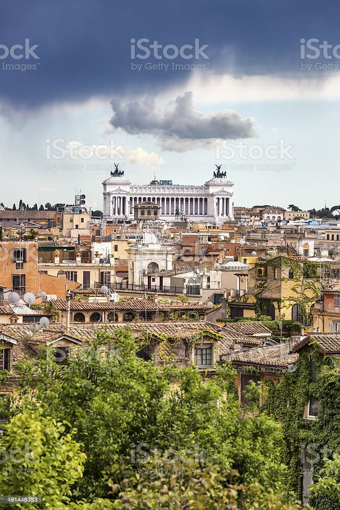Vittorio Emanuele Monument with moody sky, Roma Italy royalty-free stock photo
