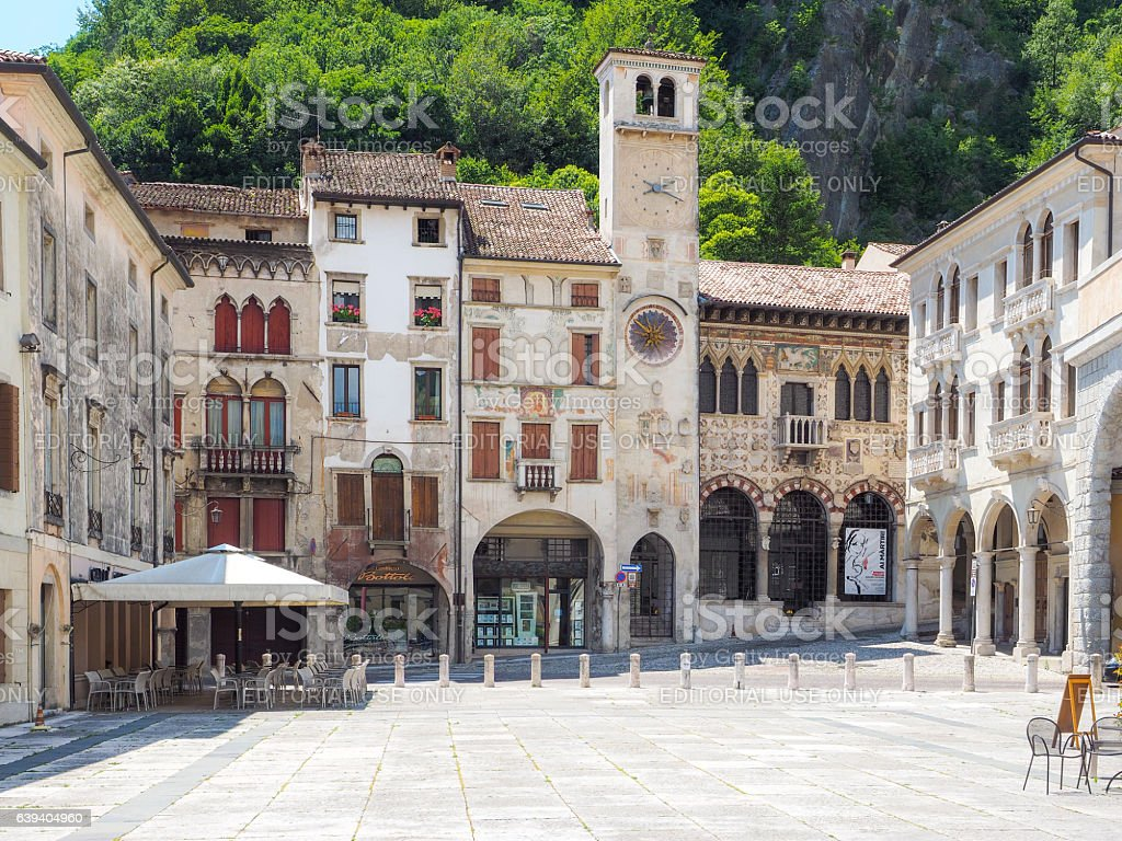 Vittorio Veneto main square with ancient arcades stock photo