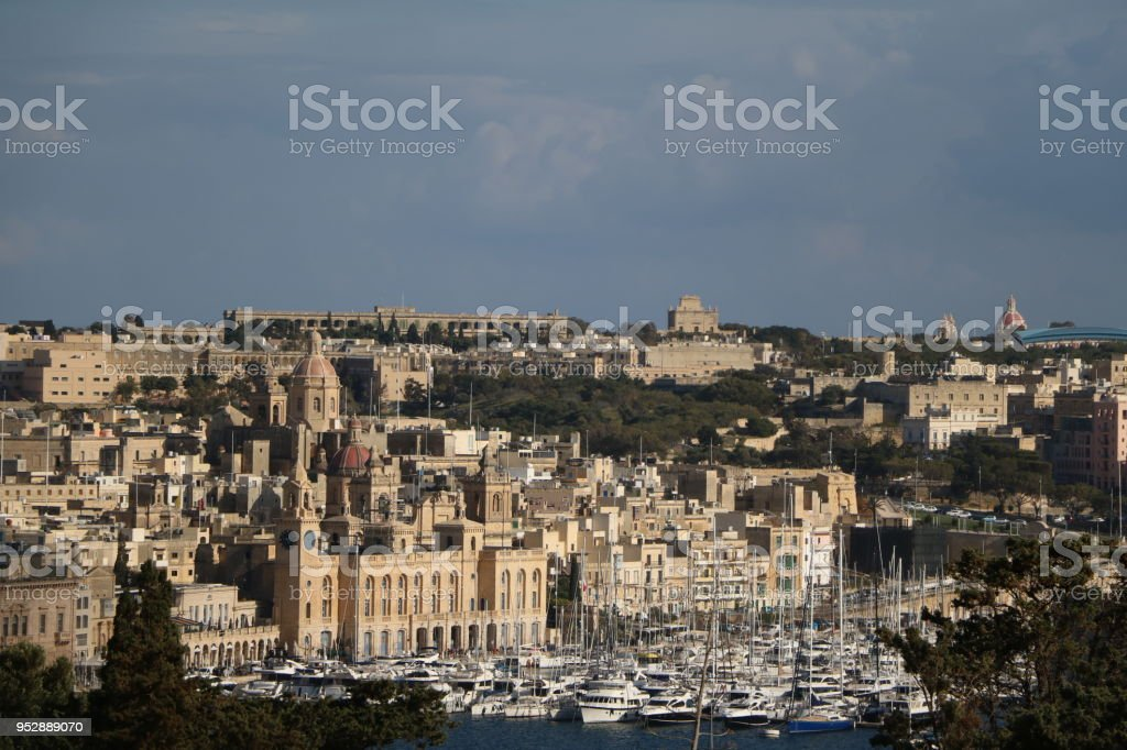 Vittoriosa Il-Birgu view from old city wall of Valletta in Malta stock photo