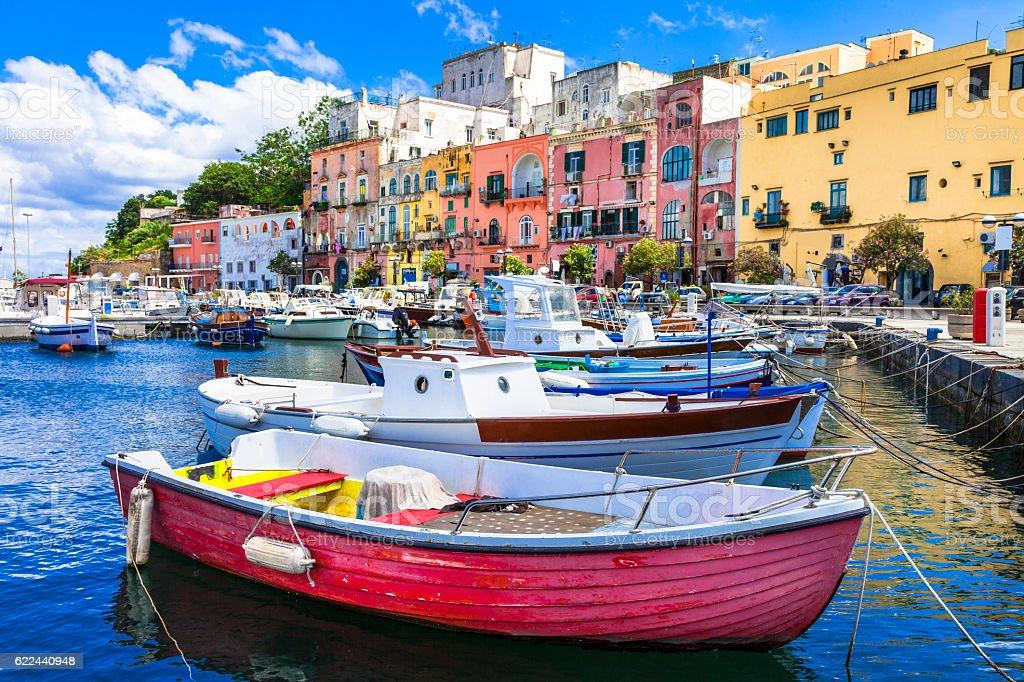 vivid beautiful Procida island, Italy stock photo