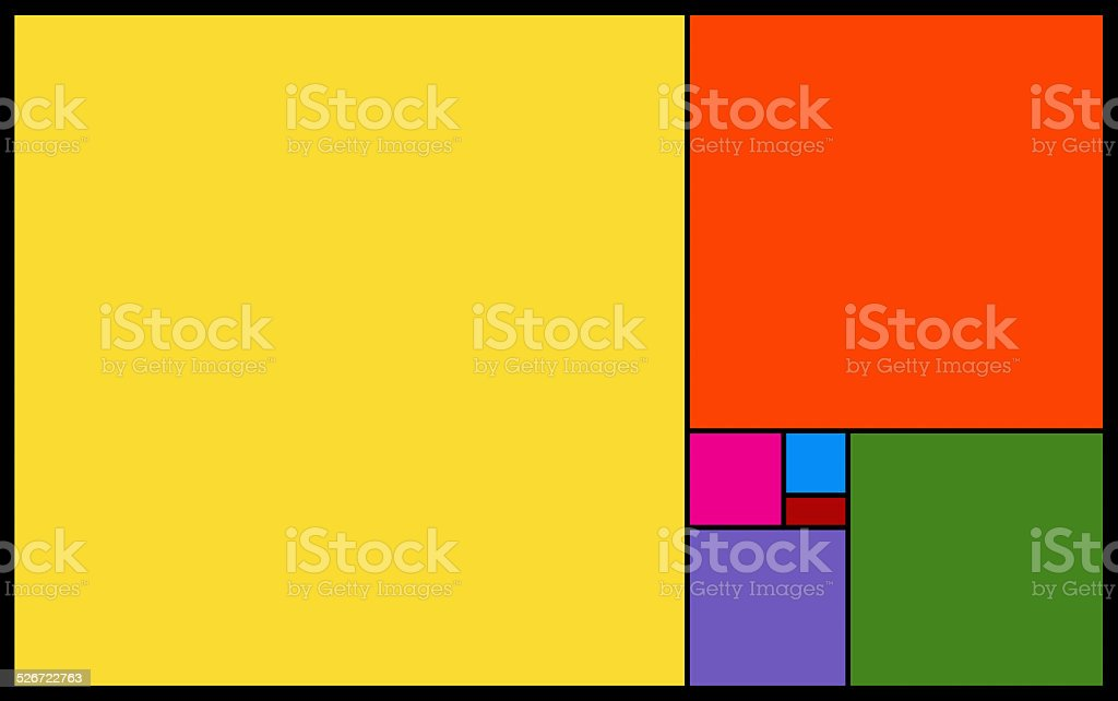 Vivid blocks of colours on black background stock photo
