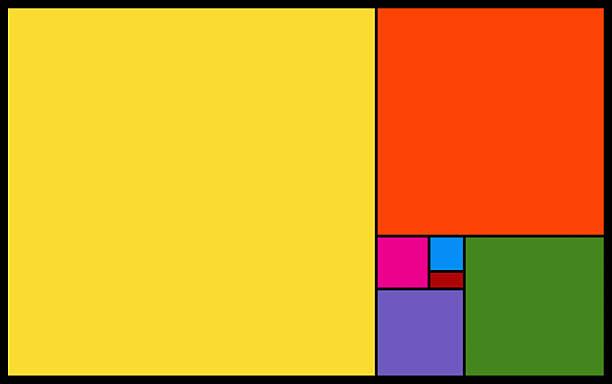 vivid blocks of colours on black background - fibonacci pattern stock photos and pictures