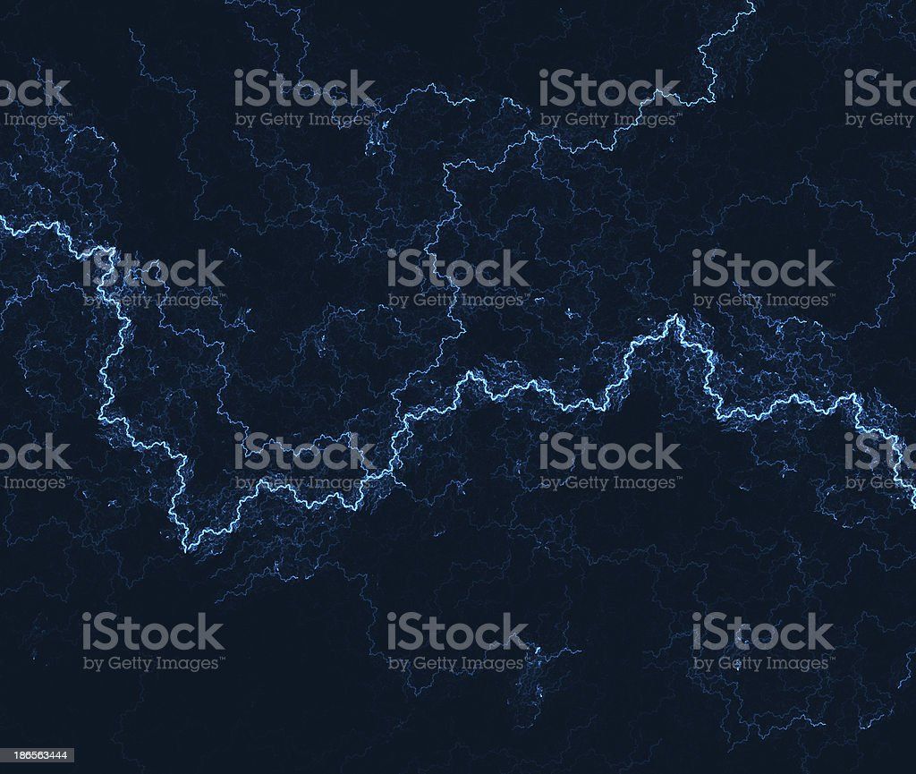 Vivid blue electricity shoots across abstract background stock photo