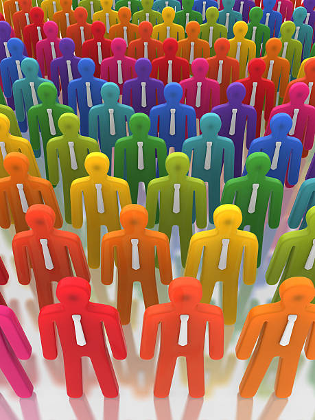 Vivid Business People Standing in Line stock photo