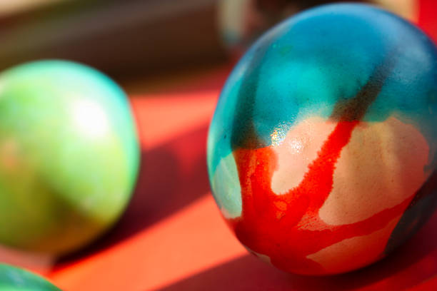 Vivid colored Easter eggs stock photo