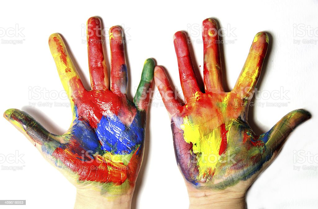 Vivid colored hands stock photo