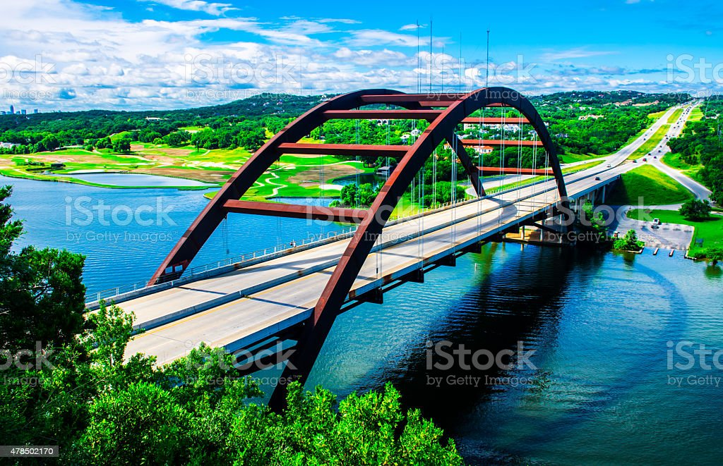 Vivid Colorful 360 Bridge Pennybacker Bridge Austin Texas Landscape stock photo
