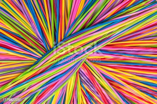 Vivid Colorful rubber bands, top close view