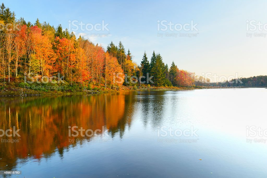 Vivid Colors of Fall Trees Reflecting in Lake stock photo