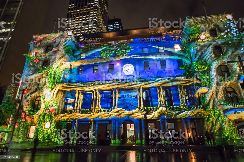 Vivid Festival, Light Installation, Customs House, Sydney, Australia stock photo
