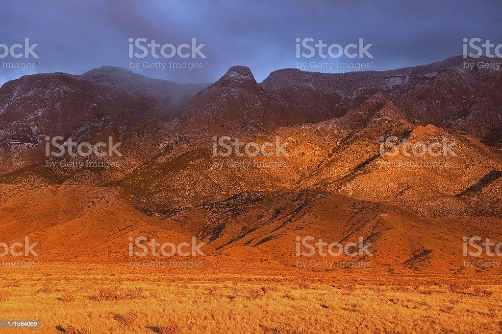 vivid landscape mountain sunset stock photo
