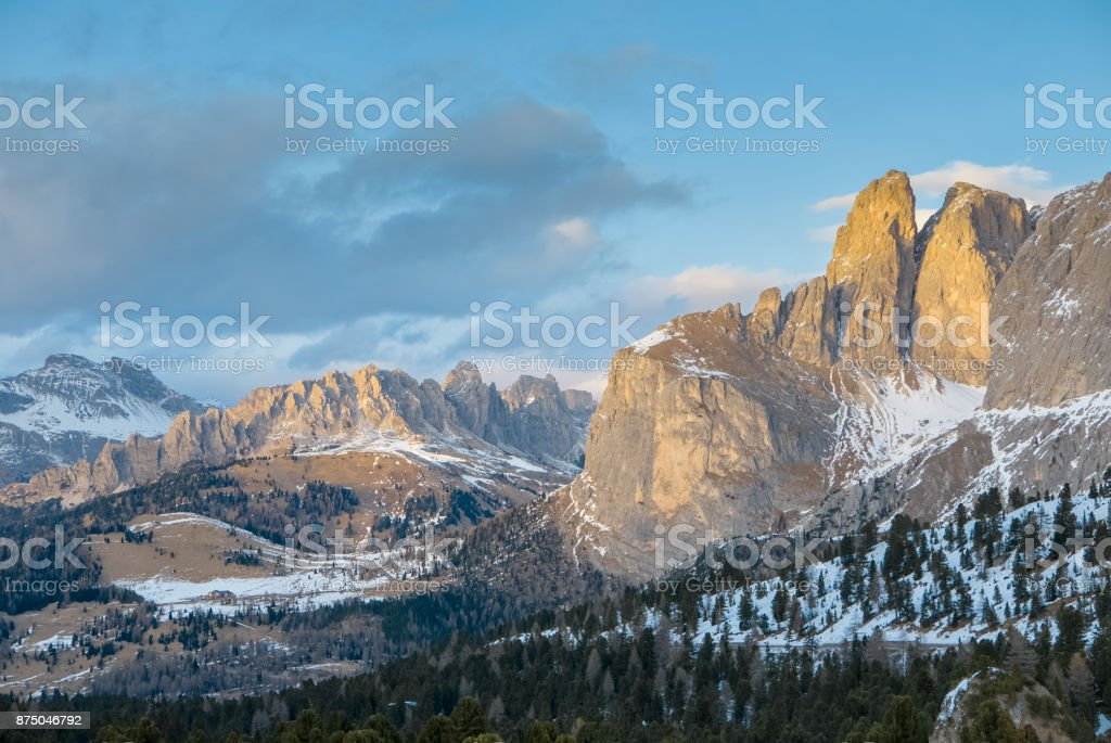 Vivid natural ladnscape of early spring in alpine valley stock photo