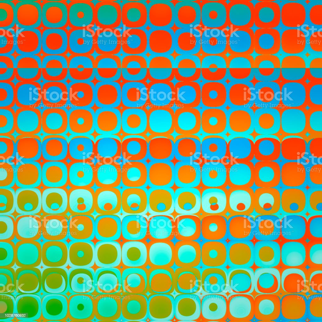 Vivid orange blue checked pattern with fractal transformation stock photo
