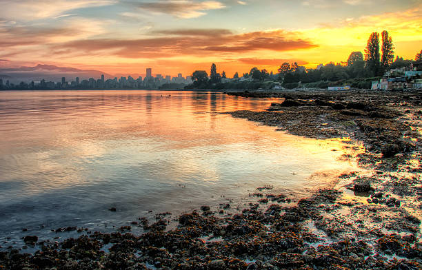 Vivid Sunrise Over Vancouver stock photo