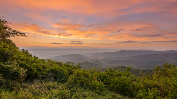 Vivid sunset from Jewell Hollow Overlook in Shenandoah National Park stock photo