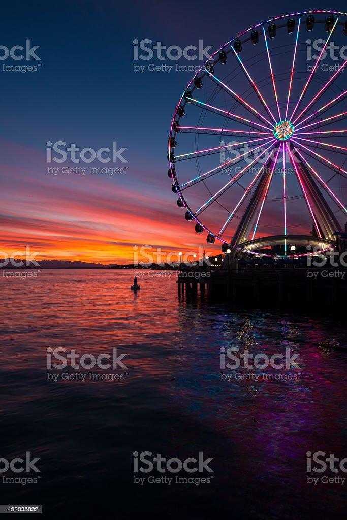 Vivid Sunset of Elliott Bay stock photo
