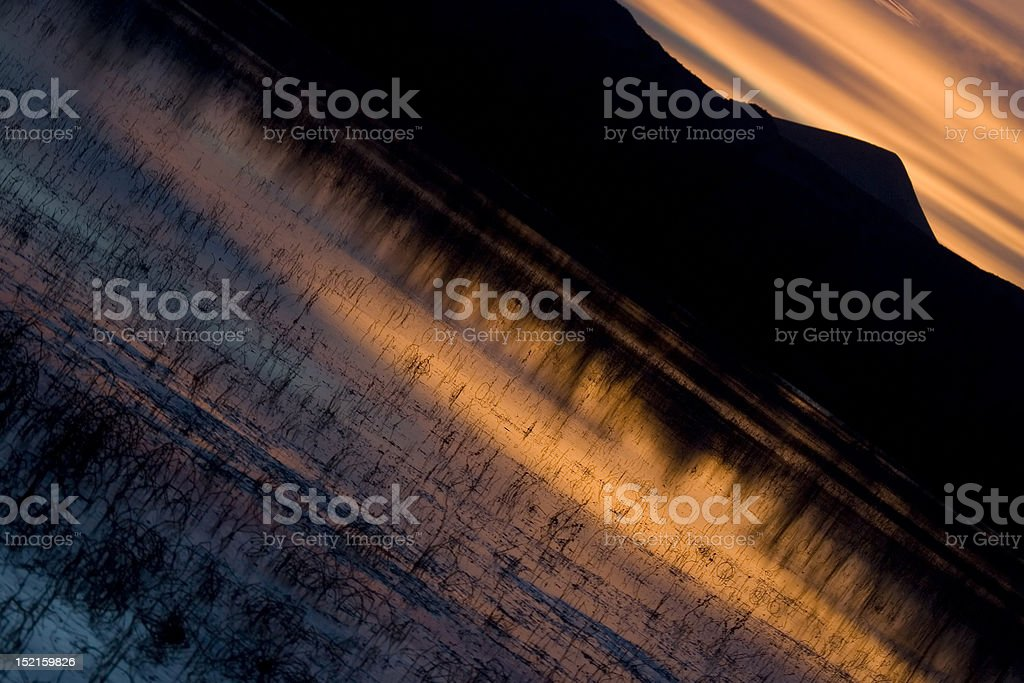 Vivid Sunset over Bosque Marshlands stock photo