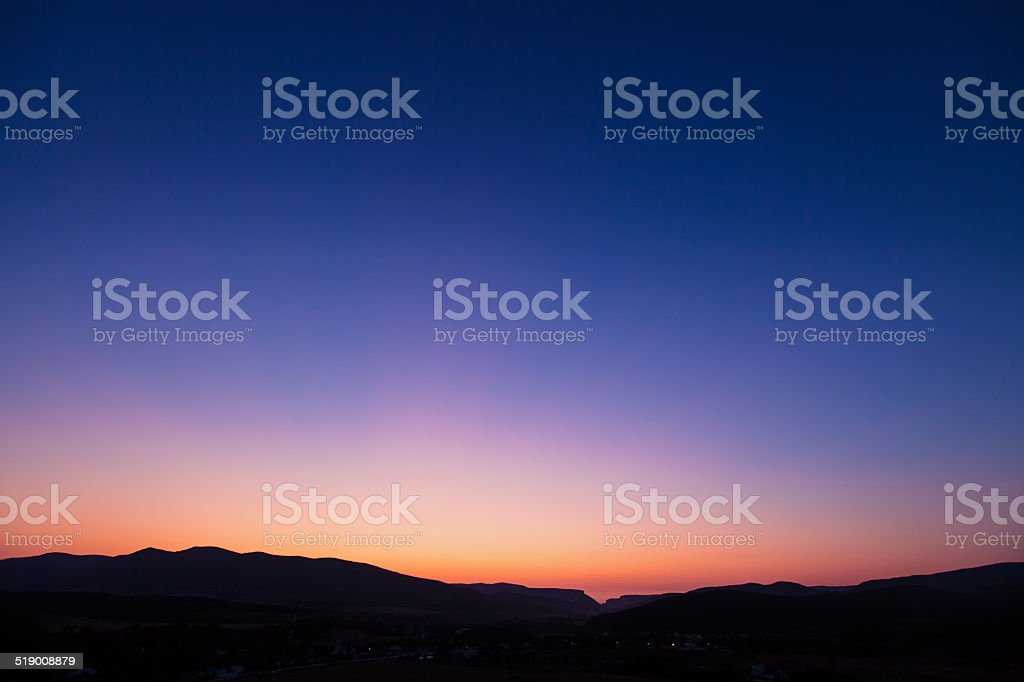 Vivid sunset sky over Belbek canyon in Crimea stock photo