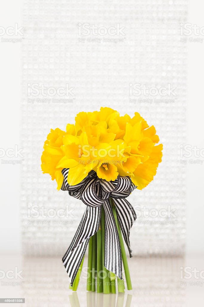 Vivid yellow daffodil bouquet stock photo