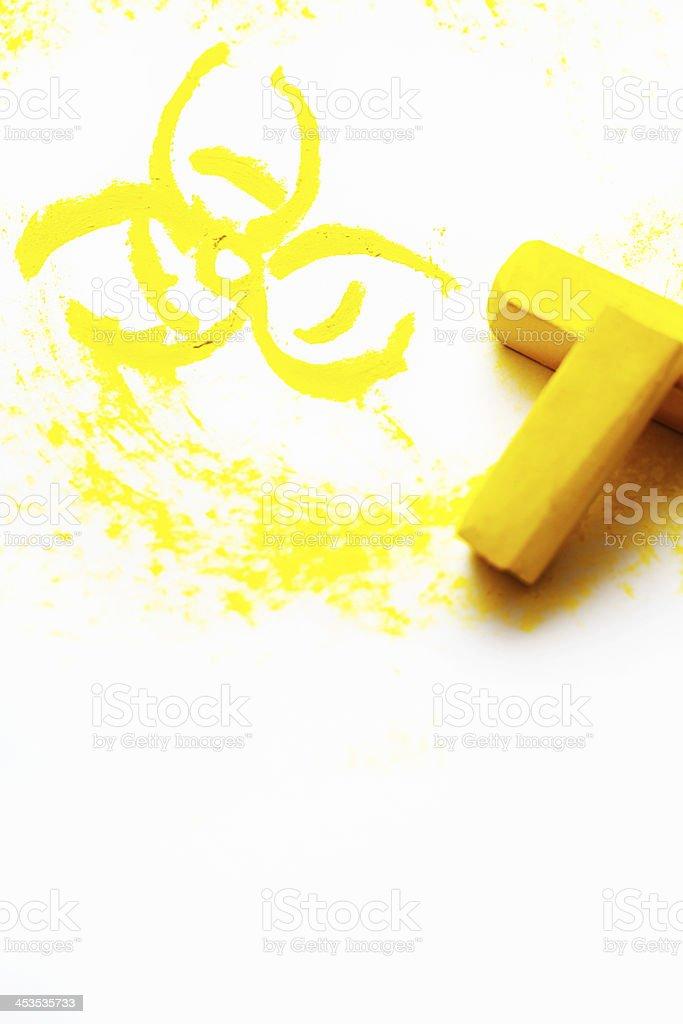 Vivid Yellow Pastel Crayons Draw Biohazard Symbol Stock Photo More