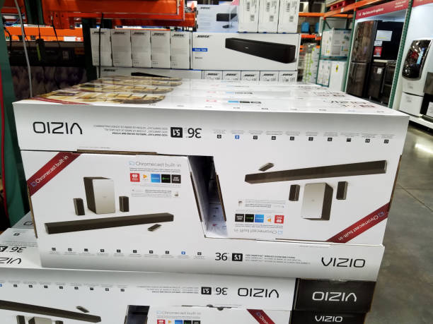 Vizio Soundbar and Subwolfer with Cromecast built-in for sale inside of Costco warehouse stock photo