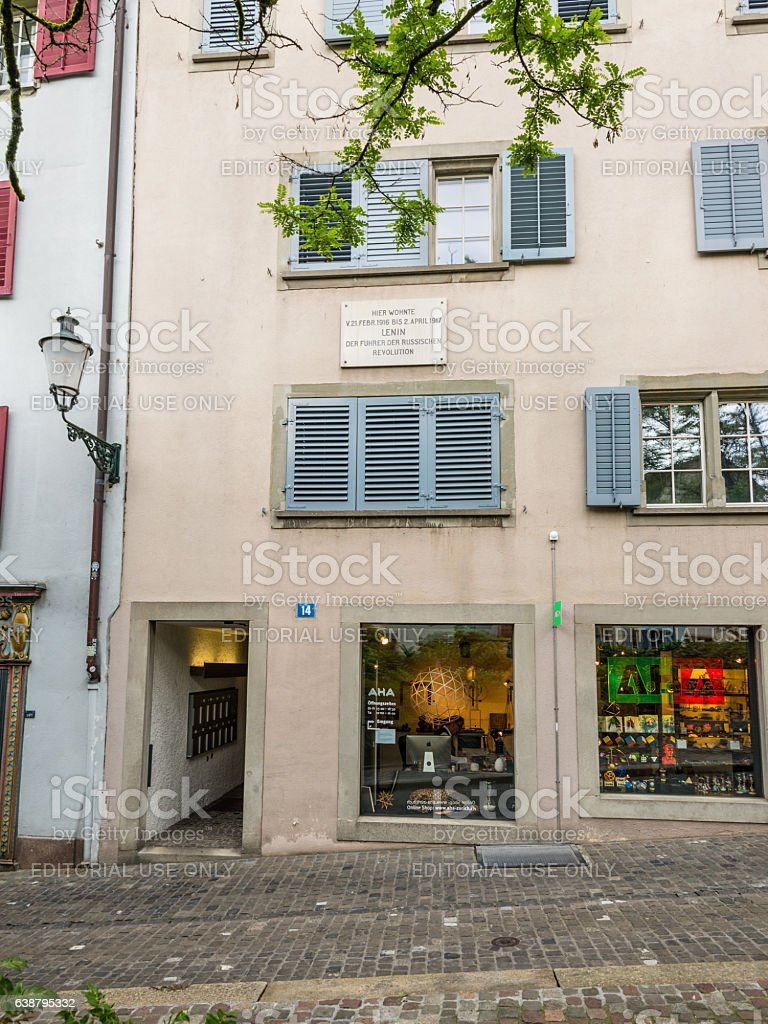 Vladimir Lenin-house in the old town of Zurich, Switzerland stock photo